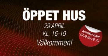 Bild med texten Öppet Hus 29 April kl. 16-19 Välkommen!